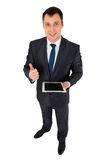 Succesvolle die zakenman op wit wordt geïsoleerd Stock Foto's