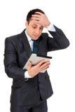 Succesvolle die zakenman op wit wordt geïsoleerd Stock Foto