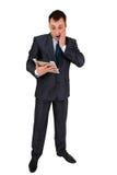 Succesvolle die zakenman op wit wordt geïsoleerd Stock Afbeeldingen