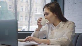 Succesvolle geconcentreerde vrouw die haar laptop zitting gebruiken bij de lijst in koffie Meisjeszitting op de bank dichtbij ven stock video