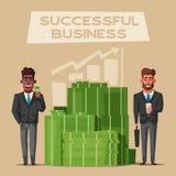 Succesvolle, gelukkige zakenlieden in een kostuum De vectorillustratie van het beeldverhaal stock illustratie