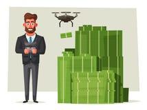 Succesvolle, gelukkige zakenlieden in een kostuum De vectorillustratie van het beeldverhaal vector illustratie