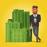 Succesvolle, gelukkige zakenman in een kostuum De vectorillustratie van het beeldverhaal stock illustratie