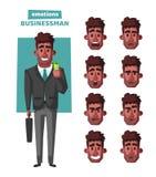 Succesvolle, gelukkige zakenman in een kostuum met paraplu De vectorillustratie van het beeldverhaal stock illustratie
