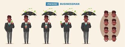 Succesvolle, gelukkige zakenman in een kostuum met paraplu De vectorillustratie van het beeldverhaal vector illustratie