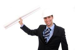 Succesvolle ingenieur, zeer gelukkig met nieuw project Stock Foto