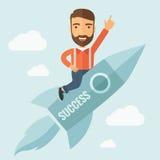 Succesvolle Mens die met een Raket vliegen stock illustratie