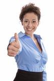 Succesvolle onderneemster in blauw - sluit omhoog van duimen omhoog isolat Royalty-vrije Stock Foto's