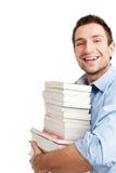 Succesvolle student op wit Stock Afbeelding