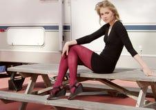 Succesvolle vrouw rv motorhome Royalty-vrije Stock Fotografie