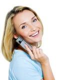 Succesvolle vrouwenvraag in de telefoon Royalty-vrije Stock Foto's