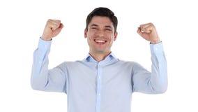 Succesvolle Zakenman Celebrating Win, Witte Achtergrond stock footage