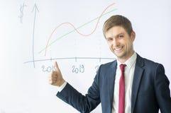 Succesvolle zakenman die O.K. teken tonen stock foto's