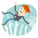 Succesvolle zakenman die omhoog werpend door zijn collega zijn. vector illustratie