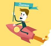 Succesvolle zakenman die op raket bevrijden royalty-vrije illustratie