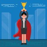 Succesvolle zakenman of makelaar in kostuum en rode kaap met golde royalty-vrije illustratie