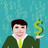 Succesvolle zakenman met dollarteken Royalty-vrije Stock Fotografie