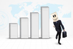 Succesvolle zakenman met globale bedrijfsgrafiek royalty-vrije illustratie
