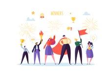 Succesvolle Zakenman met Prijs Het concept van het bedrijfssuccesgroepswerk Manager met Winnende Trofeekop De mens van de leider royalty-vrije illustratie
