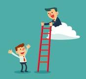 Succesvolle zakenman op de ladder van de wolkenholding voor een andere Stock Afbeelding