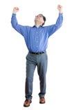 Succesvolle Zakenman Raising Fists voor Overwinning stock fotografie