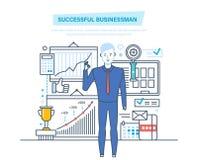 Succesvolle zakenman Succes op het werk, het leren, zaken Mededelingen, beheer, leiding royalty-vrije illustratie