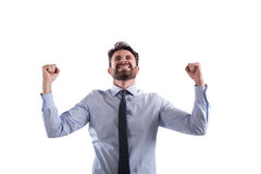 Succesvolle zegevierende zakenman stock fotografie