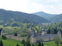 Succevita正统修道院在高一个看见的罗马尼亚 免版税库存照片