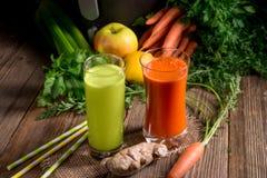 Succhi di verdura di recente schiacciati Fotografia Stock Libera da Diritti