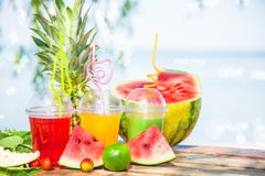 Succhi sani freschi, frutta, ananas, anguria sui precedenti del mare Estate, resto, stile di vita sano Fotografie Stock Libere da Diritti