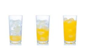 Succo d'arancia con ghiaccio Fotografia Stock Libera da Diritti
