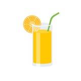 Succo d'arancia con la fetta di paglia arancio e verde Fotografia Stock Libera da Diritti