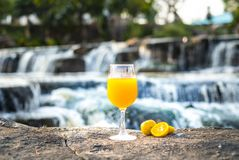 Succo d'arancia di recente schiacciato in arance di vetro e fresche sulla pietra con il fondo della cascata immagini stock libere da diritti