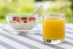 Succo d'arancia e ciotola freschi di muesli Fotografie Stock Libere da Diritti