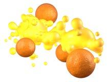 Succo d'arancia ed arance Immagini Stock
