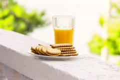 Succo d'arancia fresco nel vetro e nei biscotti saporiti Fotografia Stock Libera da Diritti