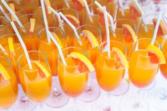 Succo d'arancia misto in una flauto Fotografia Stock
