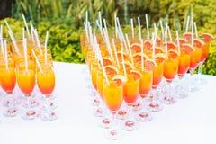 Succo d'arancia nei vetri Fotografia Stock Libera da Diritti