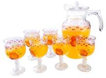 Succo d'arancia su un fondo Fotografie Stock