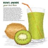 Succo del kiwi Fotografia Stock Libera da Diritti