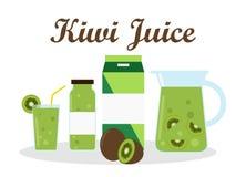 Succo del kiwi con progettazione di imballaggio del modello del pacchetto Immagine Stock