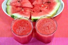 Succo dell'anguria e frutta dell'anguria Fotografia Stock