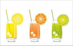 Succo dell'arancia, del limone e di cedro in un vetro Fotografia Stock Libera da Diritti