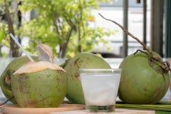 Succo della noce di cocco e noce di cocco fotografia stock