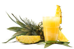Succo di ananas fresco Fotografie Stock