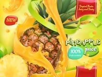 Succo di ananas Frutta tropicale dolce vettore 3d illustrazione vettoriale