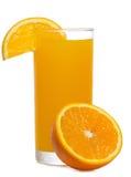 Succo di arancia con la fetta di arancio Fotografia Stock