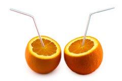 Succo di arancia dall'arancio isolato Fotografie Stock Libere da Diritti