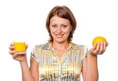 Succo di arancia ed arancione Immagine Stock Libera da Diritti