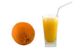 Succo di arancia ed arancione isolato Fotografie Stock